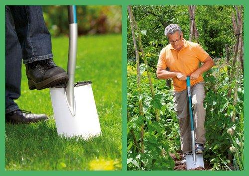 Практики рекомендуют и правильный выбор садового инструмента. Так, штыковая лопата GARDENATerralineTM - качественный вариант для копки ямы нужного размера.